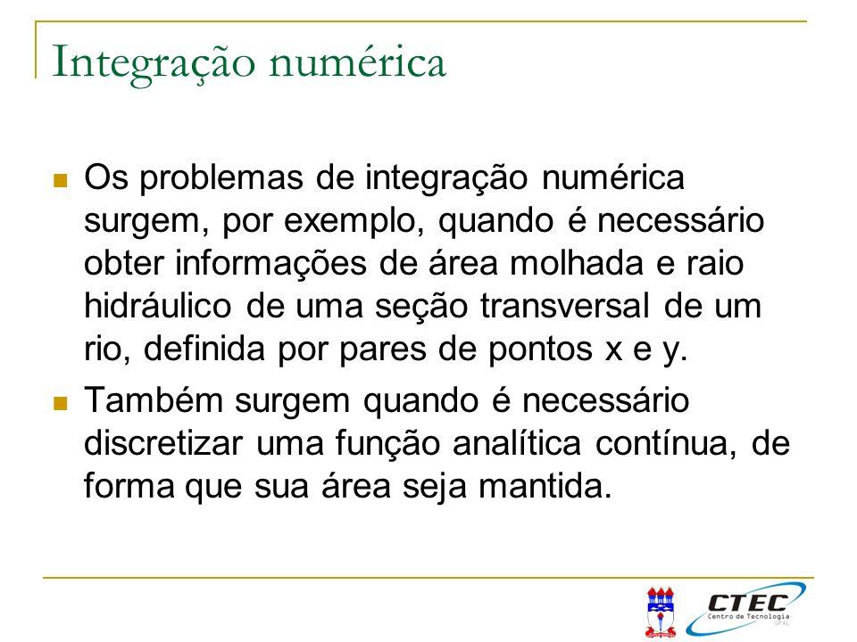 Integração numérica Os problemas de integração numérica surgem, por exemplo, quando é necessário obter informações de área molhada e raio hidráulico d