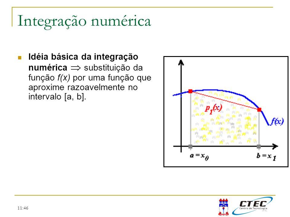11:46 Integração numérica Idéia básica da integração numérica substituição da função f(x) por uma função que aproxime razoavelmente no intervalo [a, b