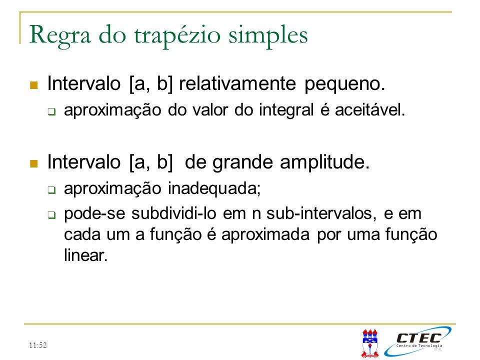11:52 Regra do trapézio simples Intervalo [a, b] relativamente pequeno. aproximação do valor do integral é aceitável. Intervalo [a, b] de grande ampli