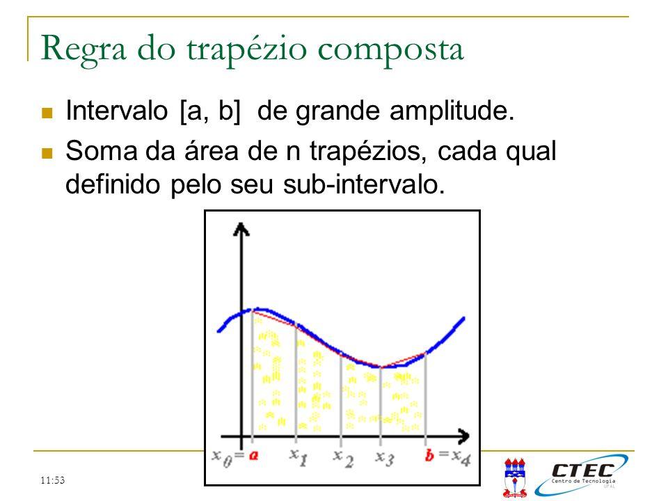 11:53 Regra do trapézio composta Intervalo [a, b] de grande amplitude. Soma da área de n trapézios, cada qual definido pelo seu sub-intervalo.