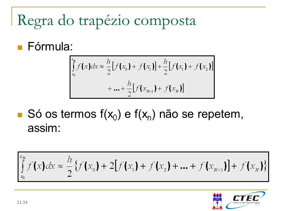 11:54 Regra do trapézio composta Fórmula: Só os termos f(x 0 ) e f(x n ) não se repetem, assim: