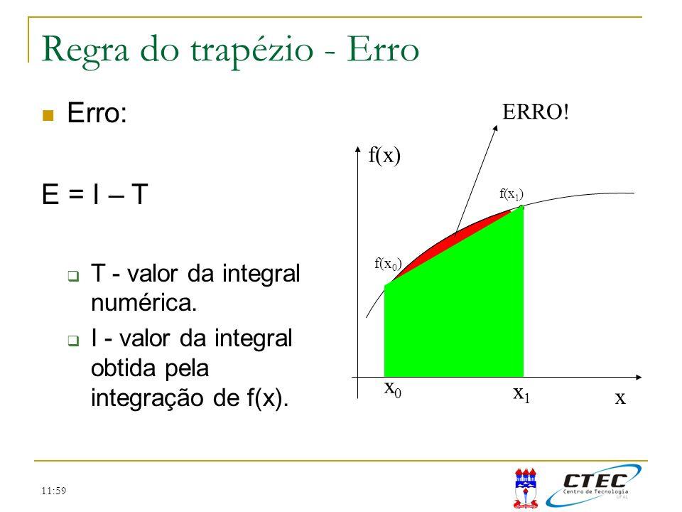 11:59 Regra do trapézio - Erro x f(x) x0x0 x1x1 f(x 1 ) f(x 0 ) ERRO! Erro: E = I – T T - valor da integral numérica. I - valor da integral obtida pel