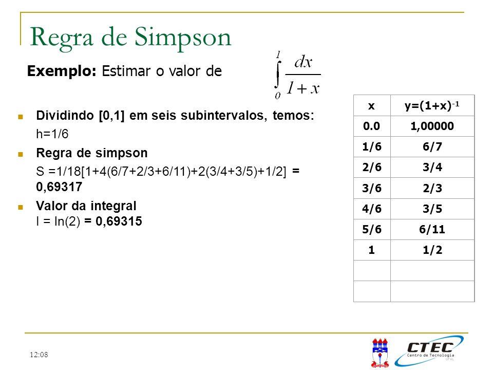 12:08 Regra de Simpson Dividindo [0,1] em seis subintervalos, temos: h=1/6 Regra de simpson S =1/18[1+4(6/7+2/3+6/11)+2(3/4+3/5)+1/2] = 0,69317 Valor