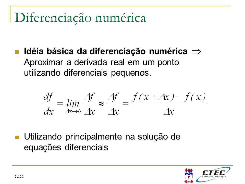 12:11 Diferenciação numérica Idéia básica da diferenciação numérica Aproximar a derivada real em um ponto utilizando diferenciais pequenos. Utilizando