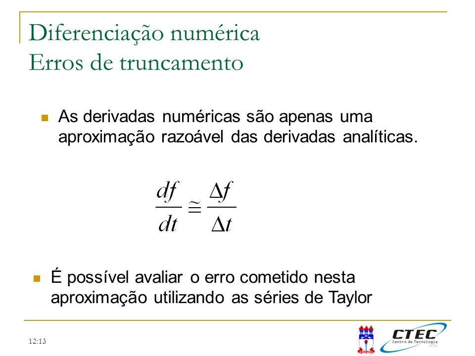 12:13 Diferenciação numérica Erros de truncamento As derivadas numéricas são apenas uma aproximação razoável das derivadas analíticas. É possível aval