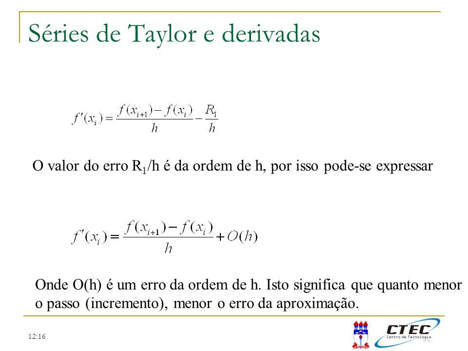12:16 Séries de Taylor e derivadas O valor do erro R 1 /h é da ordem de h, por isso pode-se expressar Onde O(h) é um erro da ordem de h. Isto signific