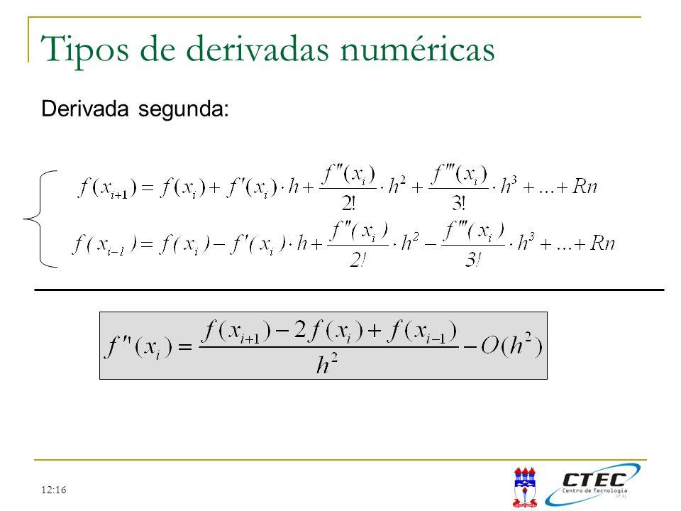 12:16 Tipos de derivadas numéricas Derivada segunda: