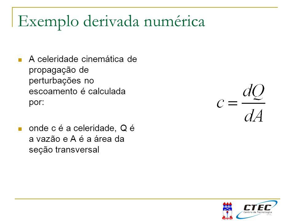 Exemplo derivada numérica A celeridade cinemática de propagação de perturbações no escoamento é calculada por: onde c é a celeridade, Q é a vazão e A