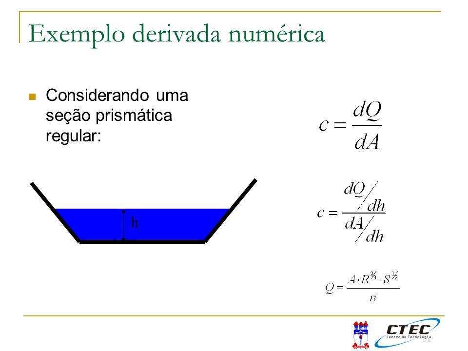 Exemplo derivada numérica Considerando uma seção prismática regular: h