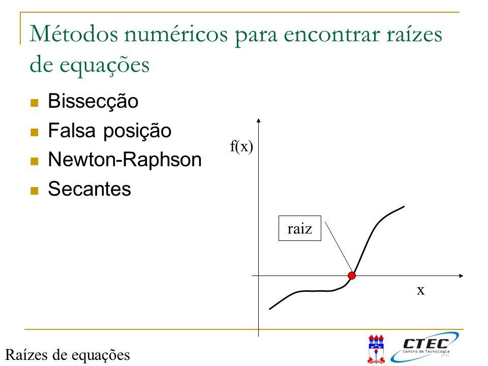 Métodos numéricos para encontrar raízes de equações Bissecção Falsa posição Newton-Raphson Secantes Raízes de equações f(x) x raiz