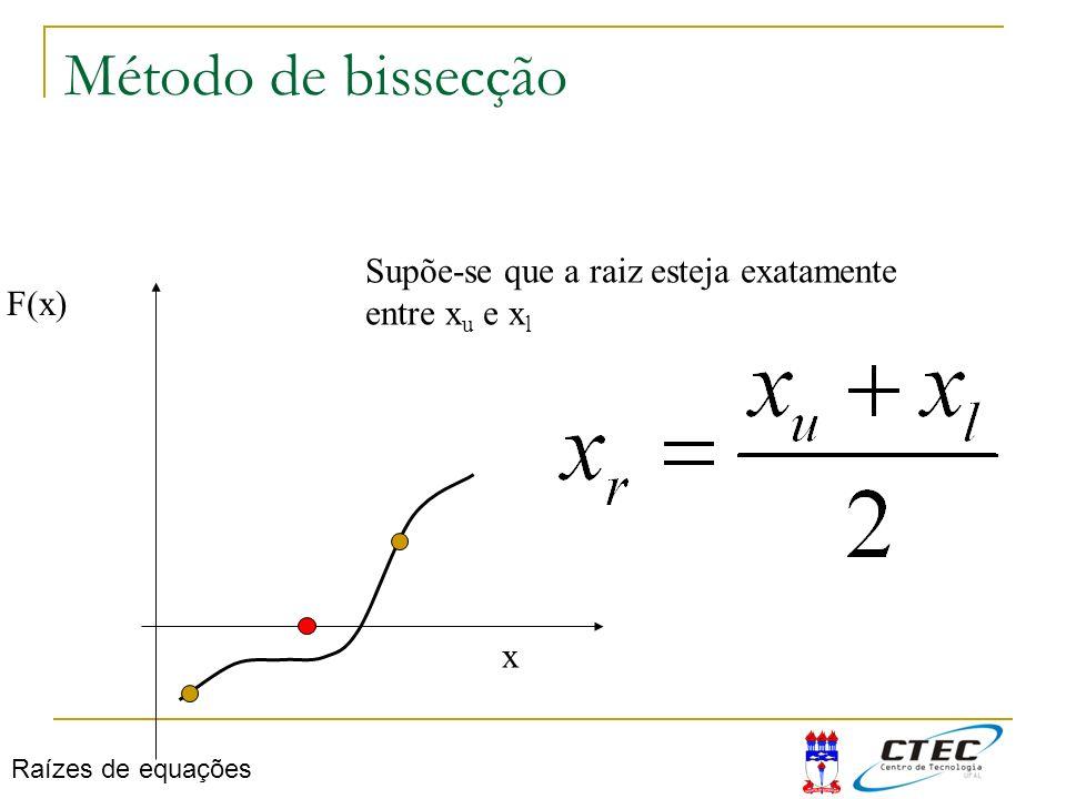 Método de bissecção F(x) x Supõe-se que a raiz esteja exatamente entre x u e x l Raízes de equações