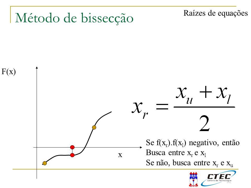 Método de bissecção Raízes de equações F(x) x Se f(x r ).f(x l ) negativo, então Busca entre x r e x l Se não, busca entre x r e x u