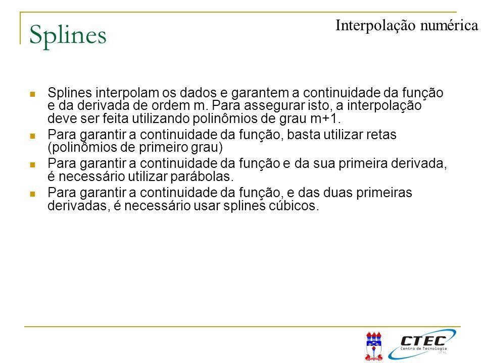 Splines Splines interpolam os dados e garantem a continuidade da função e da derivada de ordem m. Para assegurar isto, a interpolação deve ser feita u