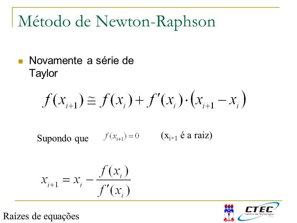 Método de Newton-Raphson Novamente a série de Taylor Supondo que (x i+1 é a raiz) Raízes de equações