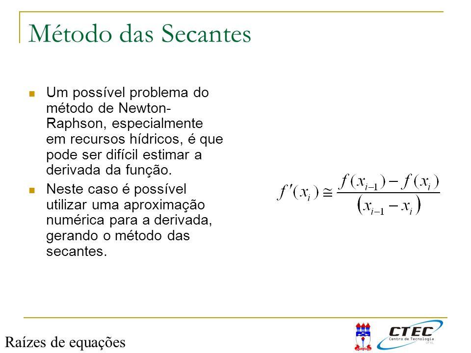 Método das Secantes Um possível problema do método de Newton- Raphson, especialmente em recursos hídricos, é que pode ser difícil estimar a derivada d