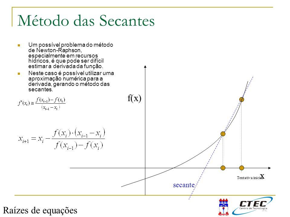 Método das Secantes Um possível problema do método de Newton-Raphson, especialmente em recursos hídricos, é que pode ser difícil estimar a derivada da