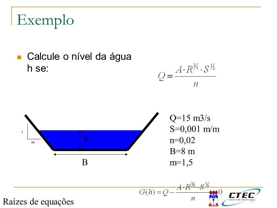 Exemplo Calcule o nível da água h se: h B Q=15 m3/s S=0,001 m/m n=0,02 B=8 m m=1,5 m 1 Raízes de equações