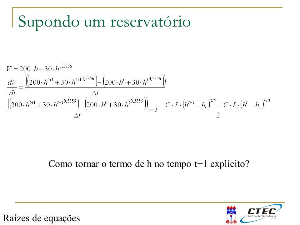 Supondo um reservatório Como tornar o termo de h no tempo t+1 explícito? Raízes de equações