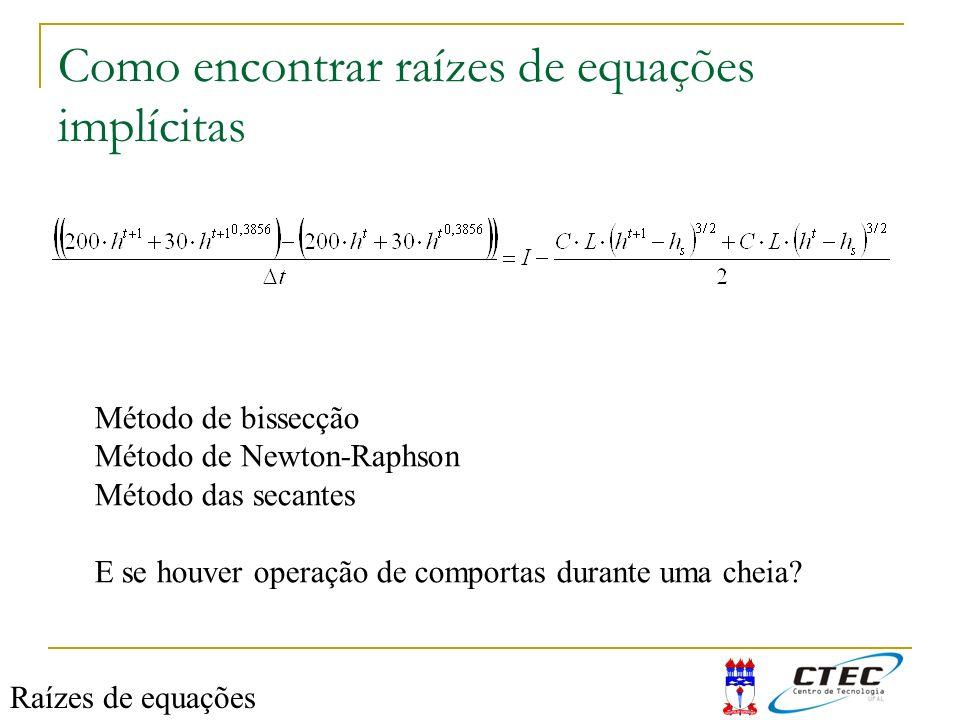 Como encontrar raízes de equações implícitas Método de bissecção Método de Newton-Raphson Método das secantes E se houver operação de comportas durant