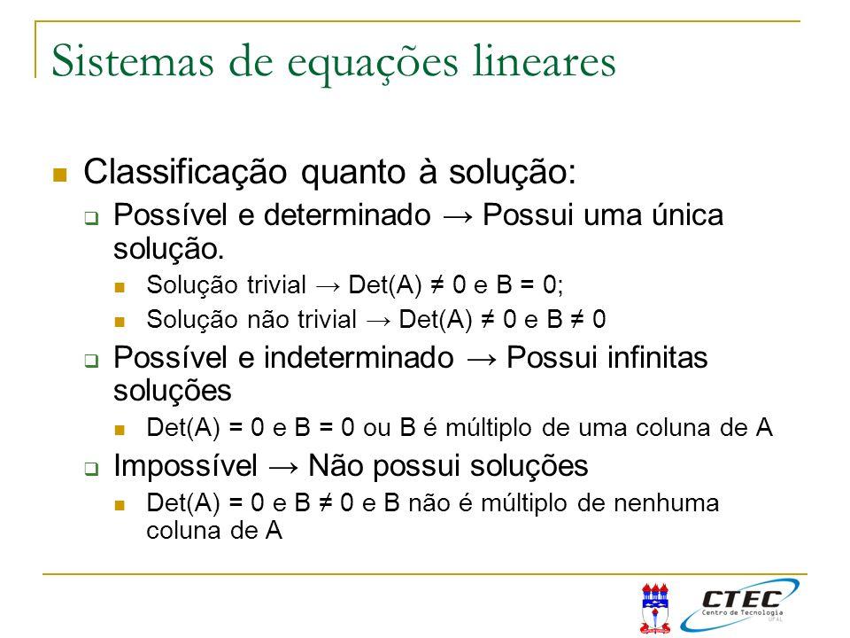 Sistemas de equações lineares Classificação quanto à solução: Possível e determinado Possui uma única solução. Solução trivial Det(A) 0 e B = 0; Soluç
