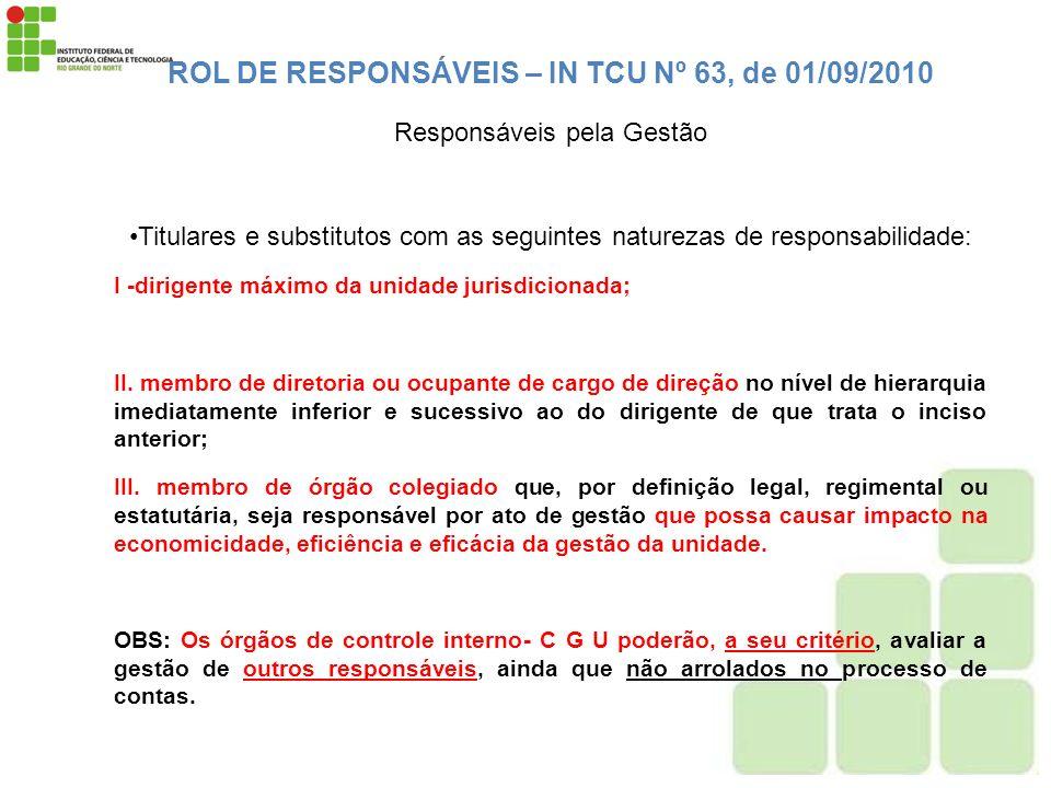 ROL DE RESPONSÁVEIS – IN TCU Nº 63, de 01/09/2010 Responsáveis pela Gestão Titulares e substitutos com as seguintes naturezas de responsabilidade: I -