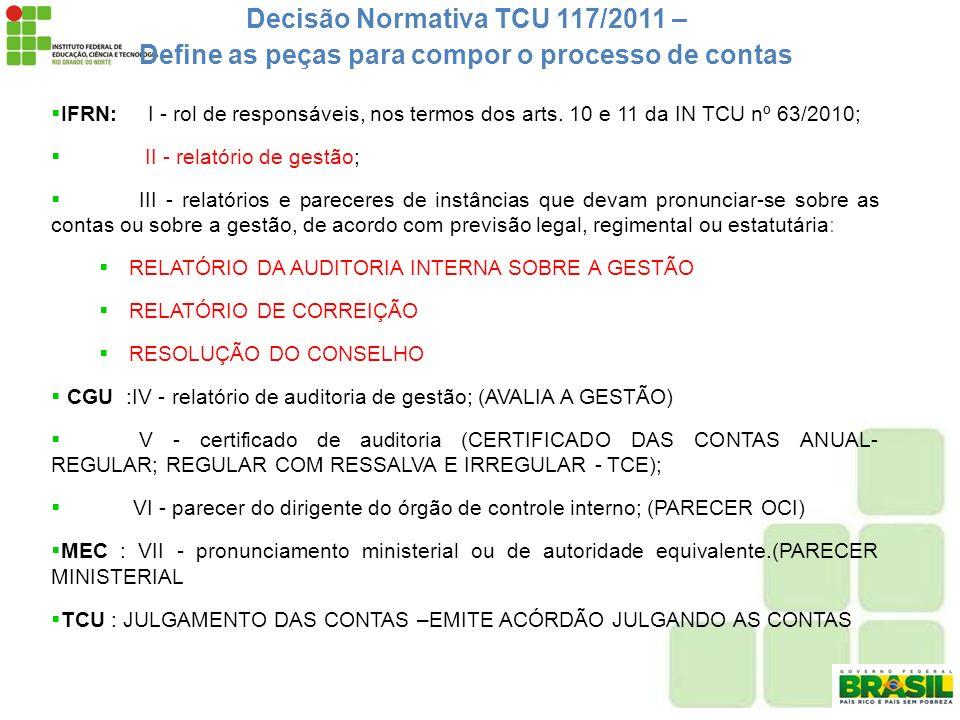 Decisão Normativa TCU 117/2011 – Define as peças para compor o processo de contas IFRN: I - rol de responsáveis, nos termos dos arts. 10 e 11 da IN TC