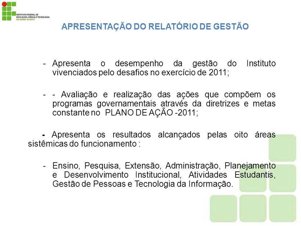 APRESENTAÇÃO DO RELATÓRIO DE GESTÃO -Apresenta o desempenho da gestão do Instituto vivenciados pelo desafios no exercício de 2011; -- Avaliação e real