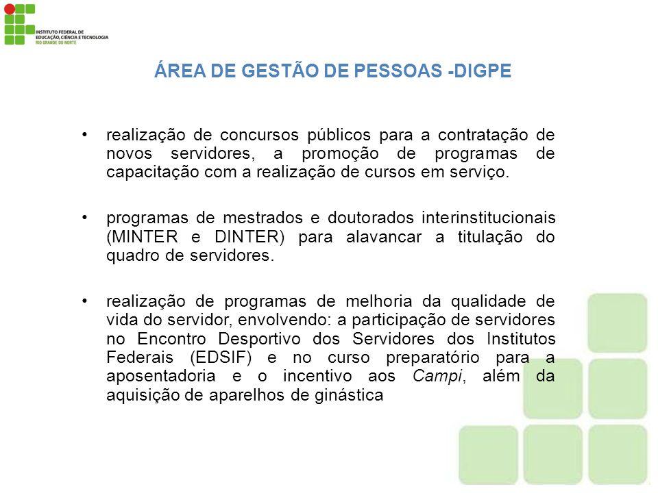 ÁREA DE GESTÃO DE PESSOAS -DIGPE realização de concursos públicos para a contratação de novos servidores, a promoção de programas de capacitação com a