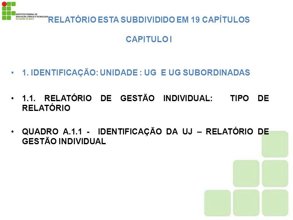 RELATÓRIO ESTA SUBDIVIDIDO EM 19 CAPÍTULOS CAPITULO I 1. IDENTIFICAÇÃO: UNIDADE : UG E UG SUBORDINADAS 1.1. RELATÓRIO DE GESTÃO INDIVIDUAL: TIPO DE RE