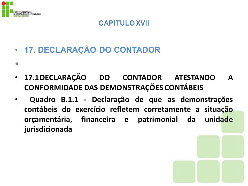 CAPITULO XVII 17. DECLARAÇÃO DO CONTADOR 17.1DECLARAÇÃO DO CONTADOR ATESTANDO A CONFORMIDADE DAS DEMONSTRAÇÕES CONTÁBEIS Quadro B.1.1 - Declaração de