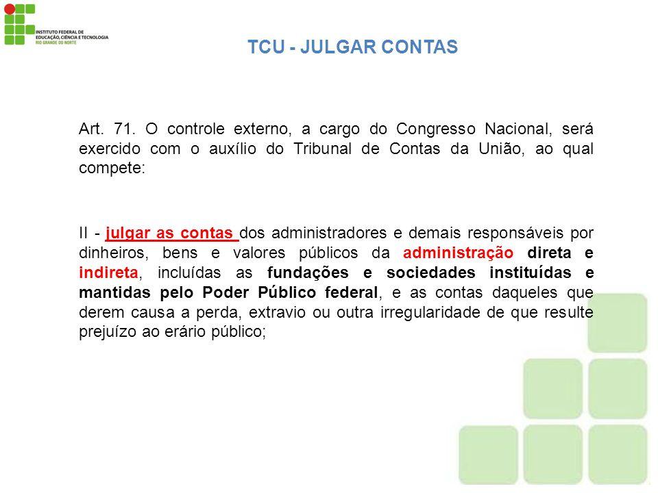 Art. 71. O controle externo, a cargo do Congresso Nacional, será exercido com o auxílio do Tribunal de Contas da União, ao qual compete: II - julgar a