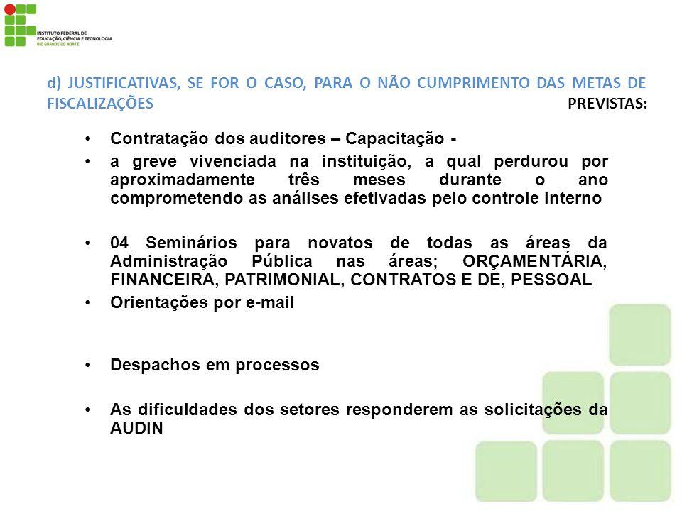 d) JUSTIFICATIVAS, SE FOR O CASO, PARA O NÃO CUMPRIMENTO DAS METAS DE FISCALIZAÇÕES PREVISTAS: Contratação dos auditores – Capacitação - a greve viven