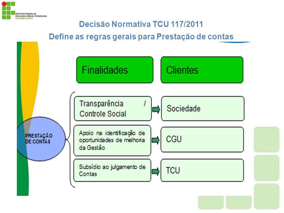 Decisão Normativa TCU 117/2011 Define as regras gerais para Prestação de contas Gestão