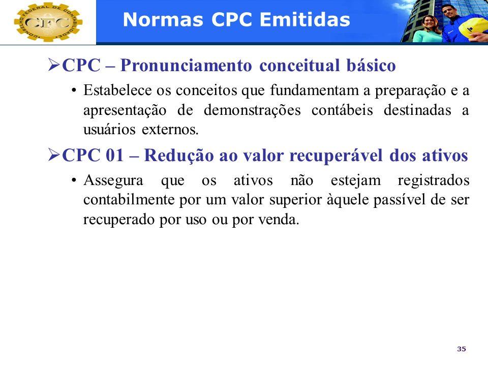 35 Normas CPC Emitidas CPC – Pronunciamento conceitual básico Estabelece os conceitos que fundamentam a preparação e a apresentação de demonstrações c