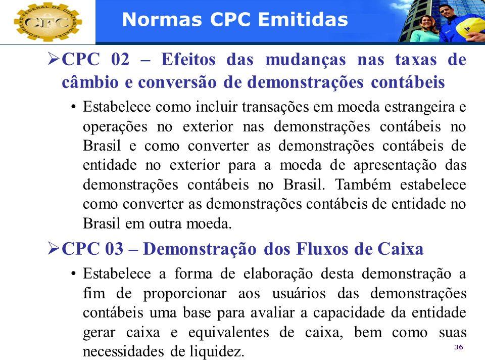 36 Normas CPC Emitidas CPC 02 – Efeitos das mudanças nas taxas de câmbio e conversão de demonstrações contábeis Estabelece como incluir transações em