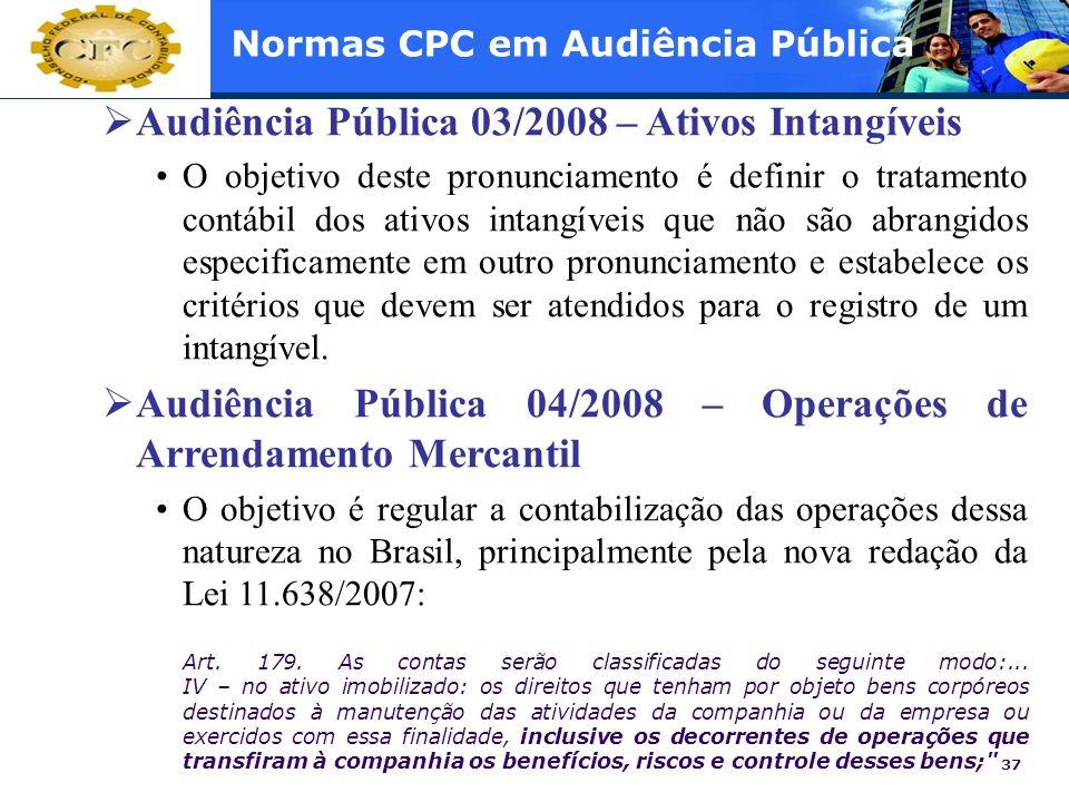 37 Normas CPC em Audiência Pública Audiência Pública 03/2008 – Ativos Intangíveis O objetivo deste pronunciamento é definir o tratamento contábil dos