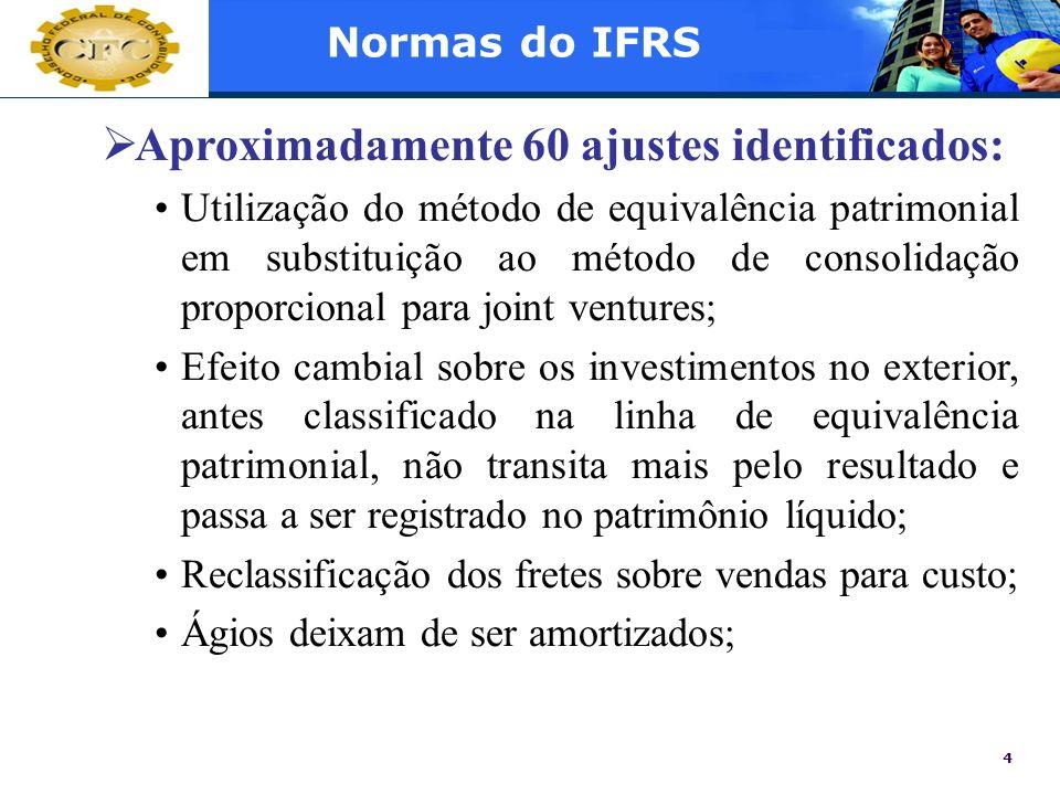 4 Normas do IFRS Aproximadamente 60 ajustes identificados: Utilização do método de equivalência patrimonial em substituição ao método de consolidação