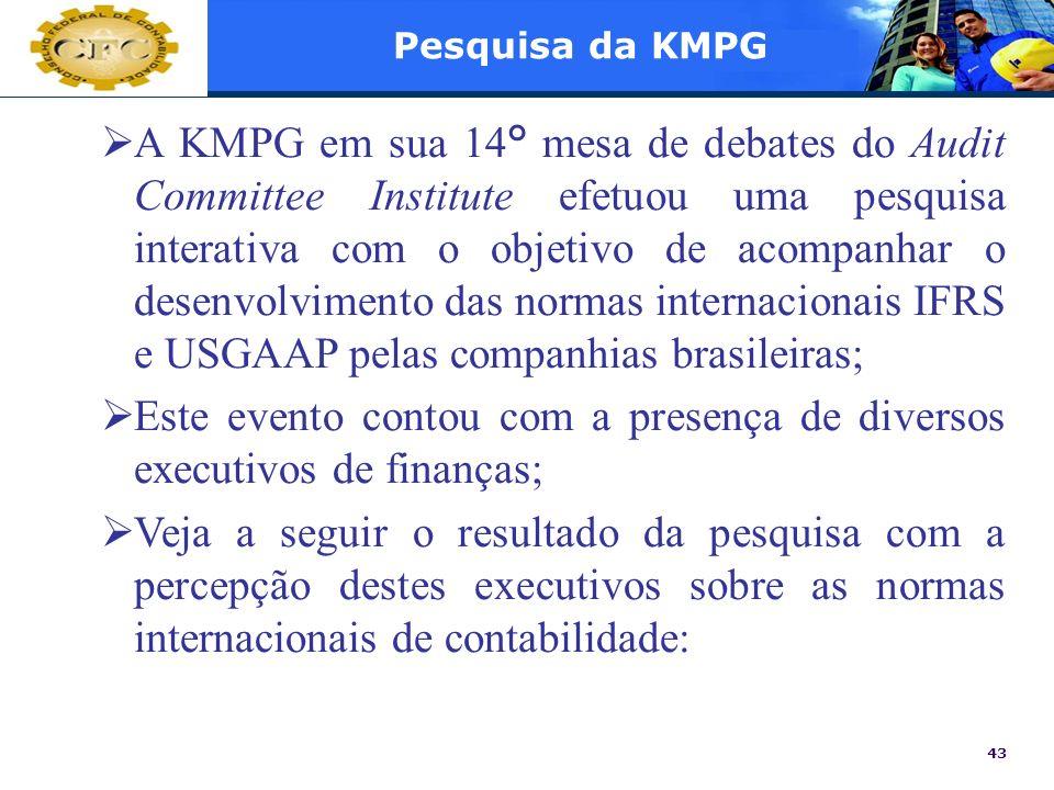43 Pesquisa da KMPG A KMPG em sua 14° mesa de debates do Audit Committee Institute efetuou uma pesquisa interativa com o objetivo de acompanhar o dese