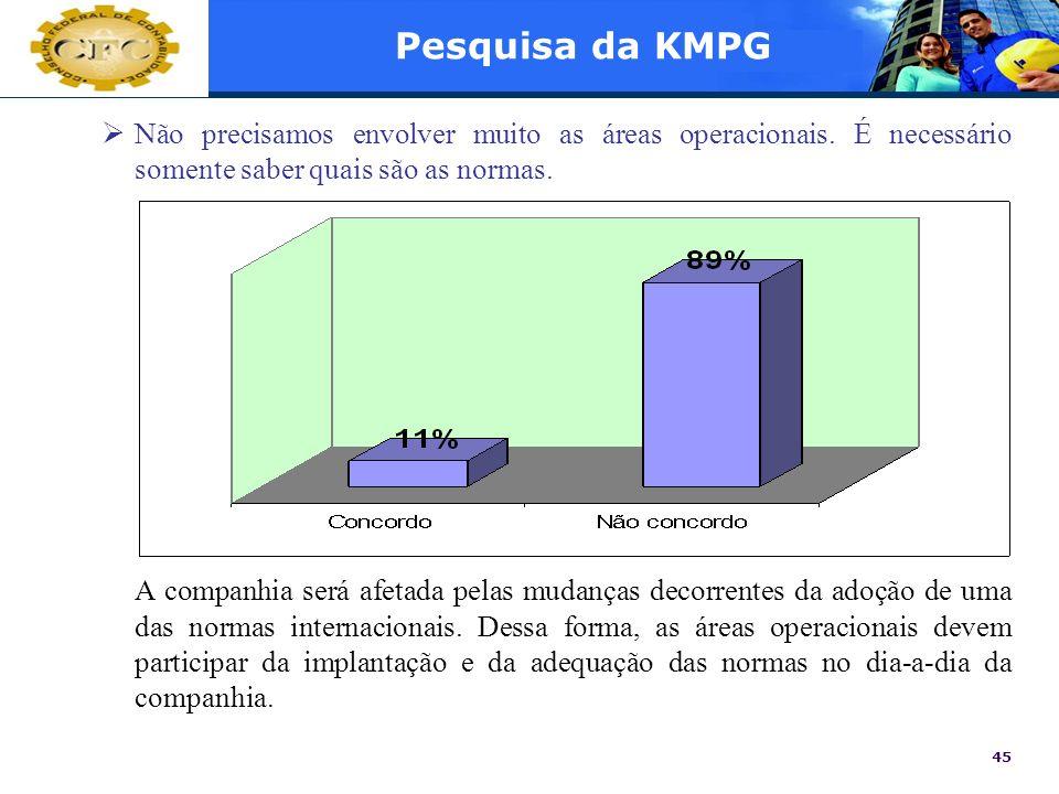 45 Pesquisa da KMPG Não precisamos envolver muito as áreas operacionais. É necessário somente saber quais são as normas. A companhia será afetada pela