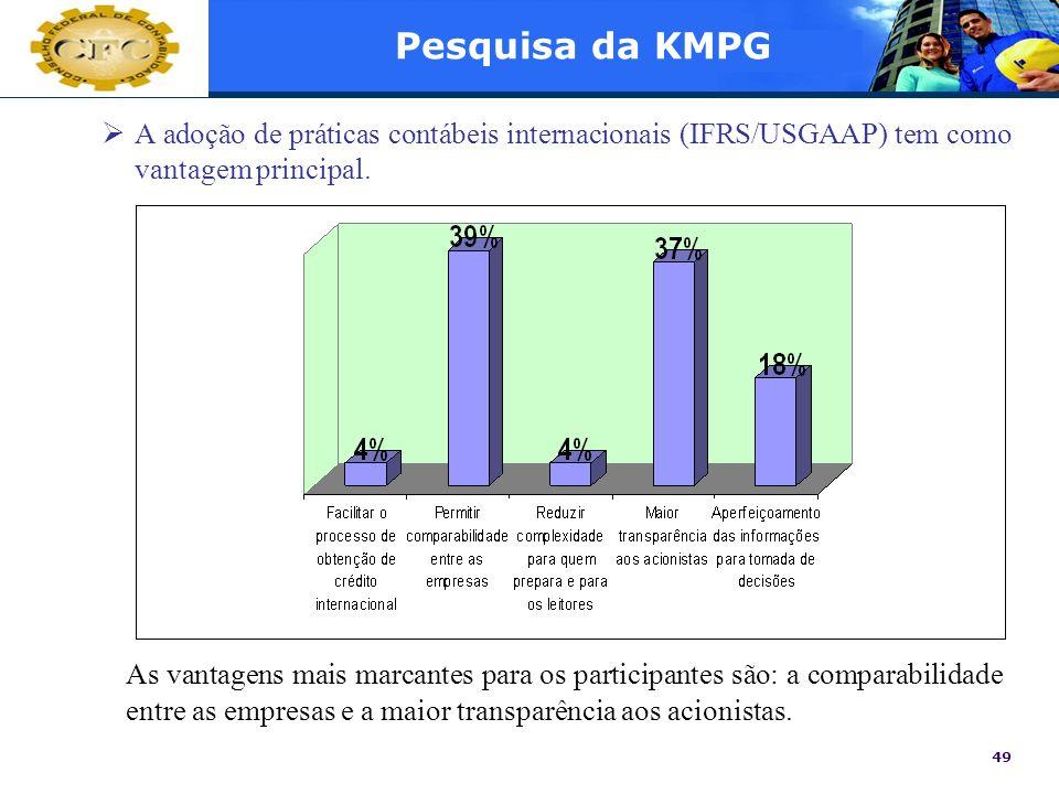 49 Pesquisa da KMPG A adoção de práticas contábeis internacionais (IFRS/USGAAP) tem como vantagem principal. As vantagens mais marcantes para os parti
