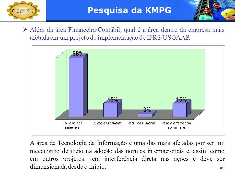50 Pesquisa da KMPG Além da área Financeira/Contábil, qual é a área dentro da empresa mais afetada em um projeto de implementação de IFRS/USGAAP. A ár