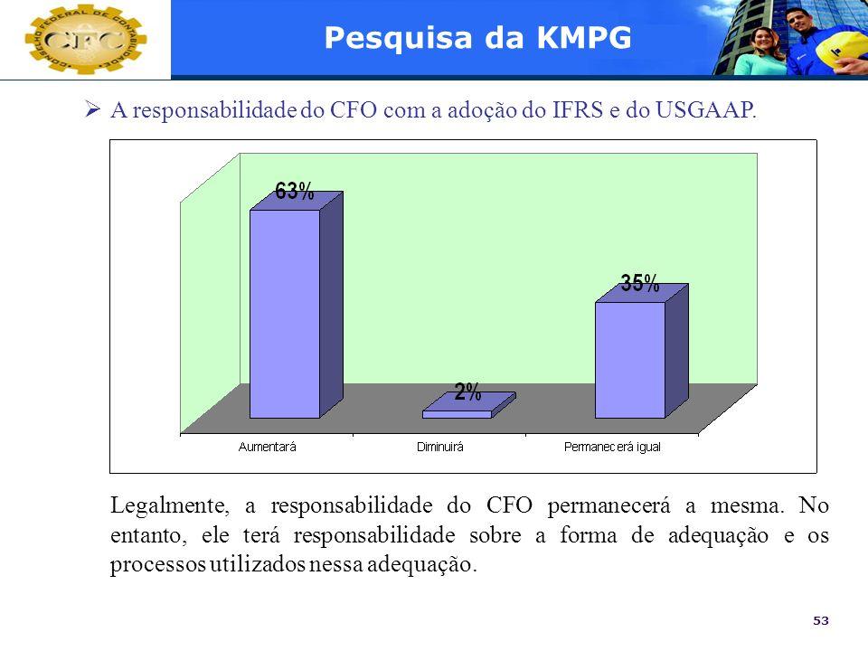53 Pesquisa da KMPG A responsabilidade do CFO com a adoção do IFRS e do USGAAP. Legalmente, a responsabilidade do CFO permanecerá a mesma. No entanto,