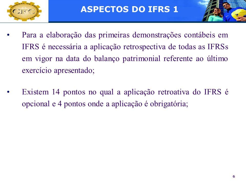 6 Para a elaboração das primeiras demonstrações contábeis em IFRS é necessária a aplicação retrospectiva de todas as IFRSs em vigor na data do balanço