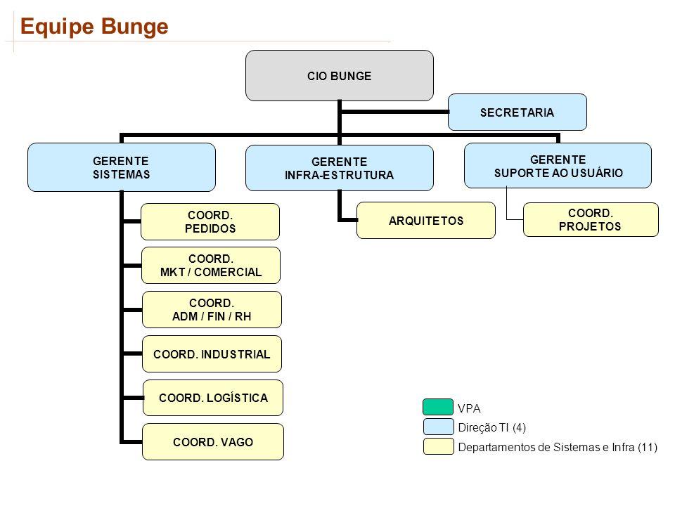 Equipe Bunge COORD. LOGÍSTICA ARQUITETOS SECRETARIA VPA Direção TI (4) Departamentos de Sistemas e Infra (11) COORD. PROJETOS