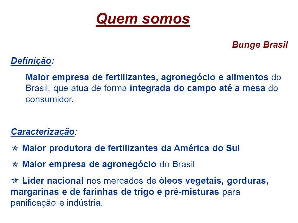 Quem somos Bunge Brasil Definição: Maior empresa de fertilizantes, agronegócio e alimentos do Brasil, que atua de forma integrada do campo até a mesa
