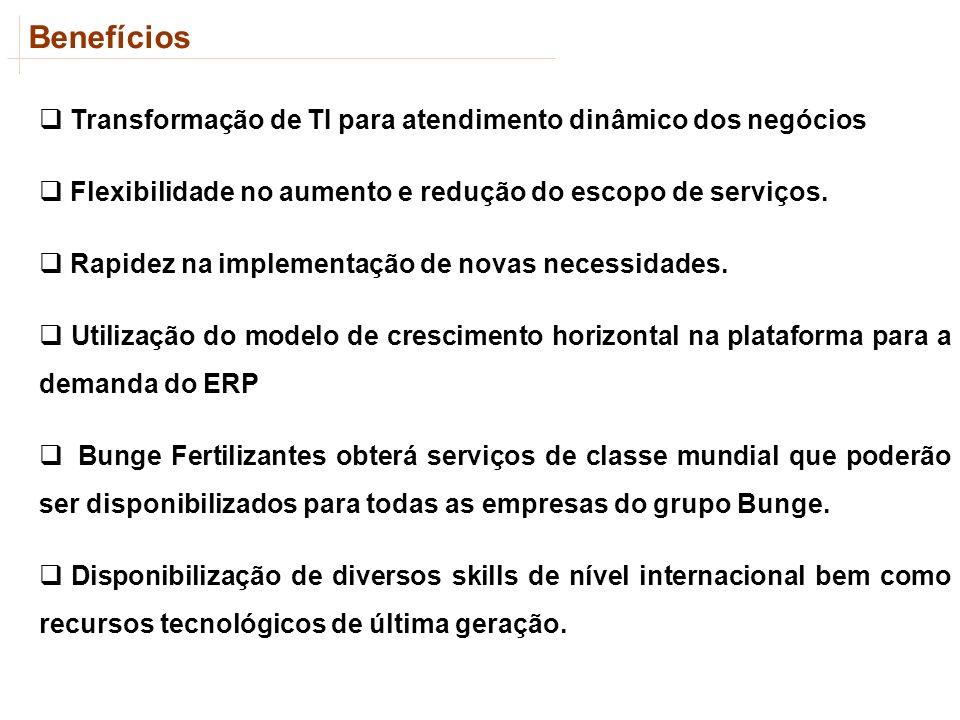 Benefícios Transformação de TI para atendimento dinâmico dos negócios Flexibilidade no aumento e redução do escopo de serviços. Rapidez na implementaç