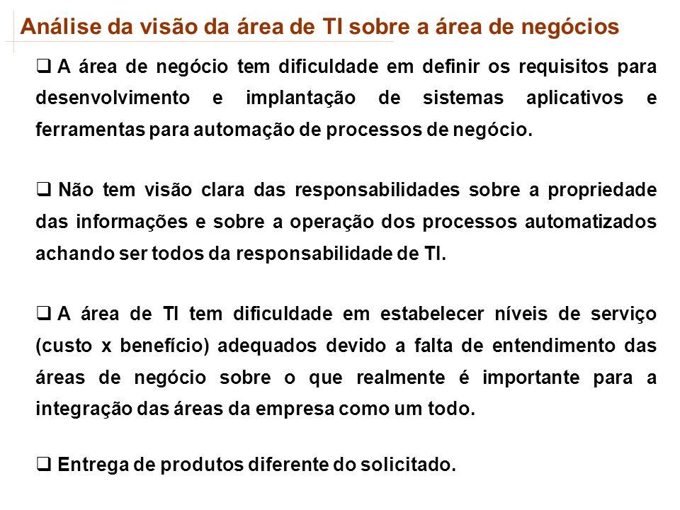 Análise da visão da área de TI sobre a área de negócios A área de negócio tem dificuldade em definir os requisitos para desenvolvimento e implantação