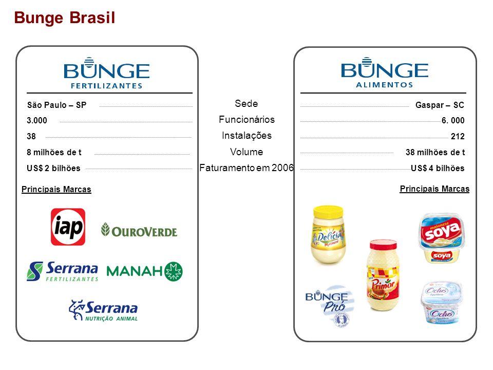 Bunge Brasil Sede Funcionários Instalações Volume Faturamento em 2006 São Paulo – SP 3.000 38 8 milhões de t US$ 2 bilhões Gaspar – SC 6. 000 212 38 m