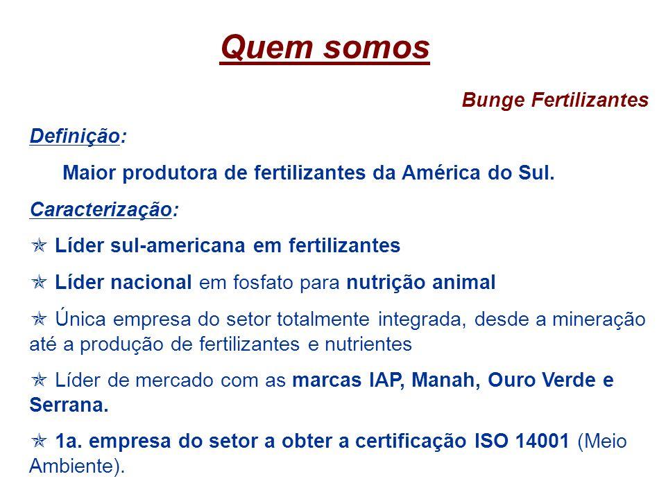 Quem somos Bunge Fertilizantes Definição: Maior produtora de fertilizantes da América do Sul. Caracterização: Líder sul-americana em fertilizantes Líd