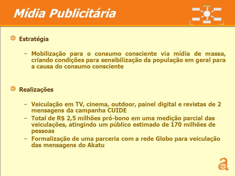 12 Estratégia –Mobilização para o consumo consciente via mídia de massa, criando condições para sensibilização da população em geral para a causa do c
